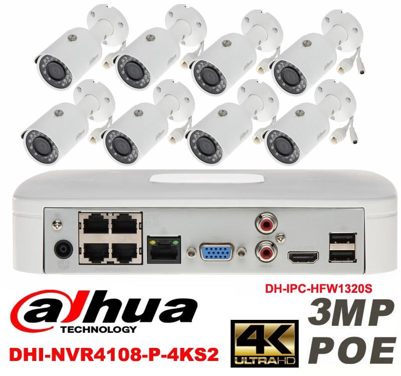 Dahua original 8CH 3MP H2.64 DH-IPC-HFW1320S 8pcs bullet IP security camera POE DAHUA DHI-NVR4108-P-4KS2 Waterproof camera kit видеокамера ip dahua dh ipc hdbw2220rp zs 2 7 12мм 1 2 8 1984x1225