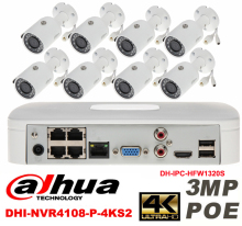 Dahua original 8CH 3MP H2.64 DH-IPC-HFW1320S 8pcs bullet IP security camera POE DAHUA DHI-NVR4108-P-4KS2 Waterproof camera kit