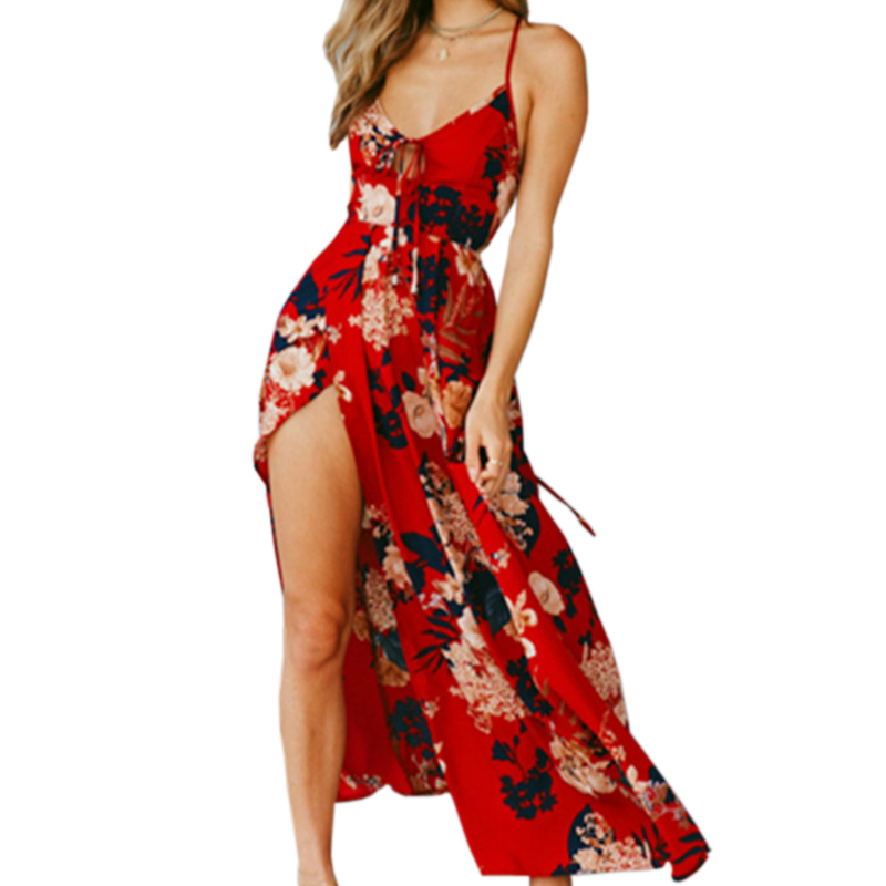 2018 Summer Beach Maxi Dress Female Floral Printed Backless Sundress Lace Up V Neck Women Sexy Split Cross Long Plus Size GV465