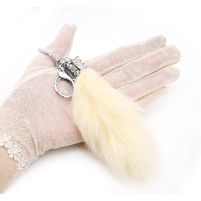 Jauki pūkaina truša kažokādas astes atslēgu piekariņš - Modes rotaslietas - Foto 3