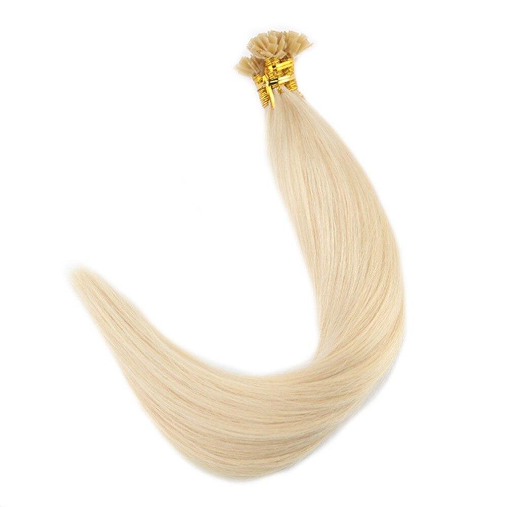 Полный блеск Плоский наконечник волос Цвет #60 Светло-русый 0.8 г/Strand 40 г 100% Реми Предварительно связаны человеческие волосы Плоский наконечни...