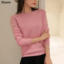 2018 new winter dress Korean all-match loose solid shoulder lace stitching raglan sleeve sweater Xnxee lace raglan sleeve keyhole tee