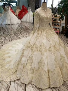 Image 2 - LS17233 royal golden lace wedding gown with crystal necklace o neck long sleeve robe ceremonie femme mariage