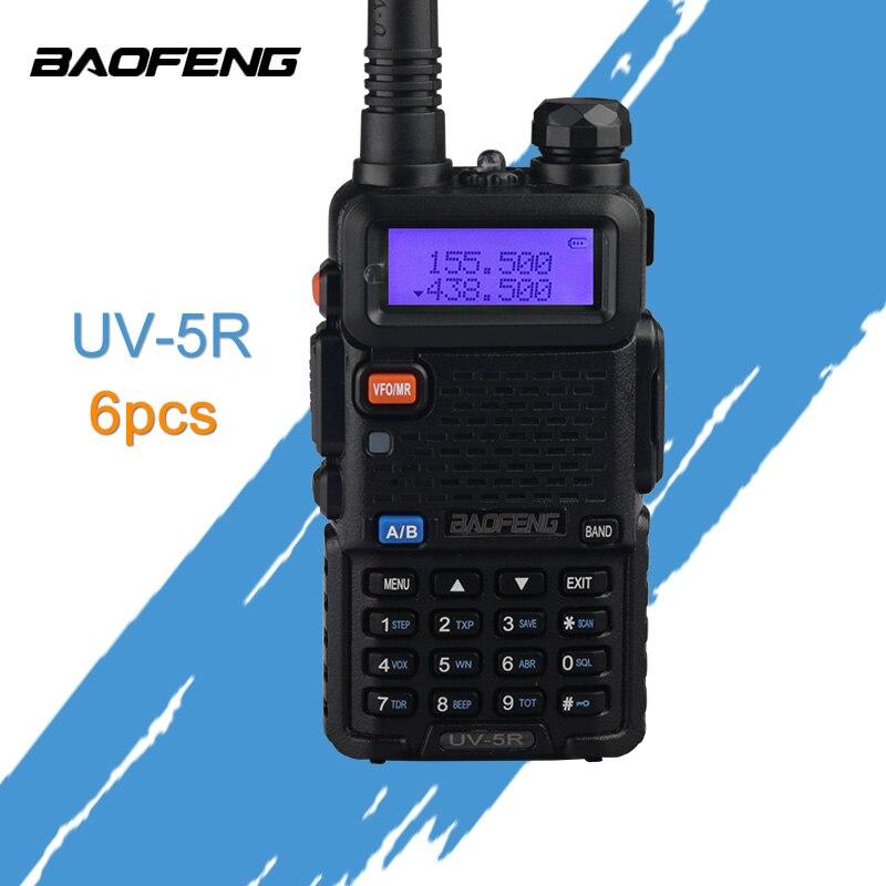 (6 pièces) Baofeng UV-5R Radio double bande Radio 136-174 Mhz et 400-520 Mhz talkie-walkie 5 W Radio bidirectionnelle voiture CB Radio UV5R