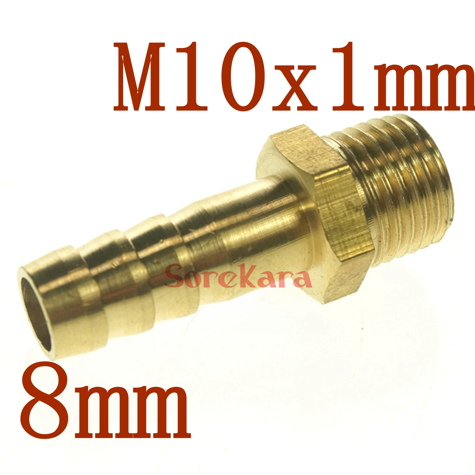 LOT 5 Hose Barb I/D 8mm X M10x1mm Metric Male Thread Brass Coupler Splicer Connector Fitting For Fuel Gas Water