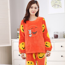11a11309be90 New Winter Thick Warm Women Coral Fleece Pajamas Set Comfortable Soft Cute  Cartoon Pattern Leisure Female