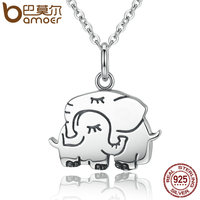 BAMOER Trendy 100 925 Sterling Silver Cute Elephant Hug Pendant Necklaces Women Fine Jewelry Brincos S925