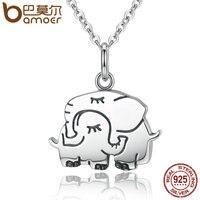 BAMOER Trendy 100 925 Sterling Silver Cute Elephant Hug Pendant Necklaces Women Fine Jewelry Brincos S925