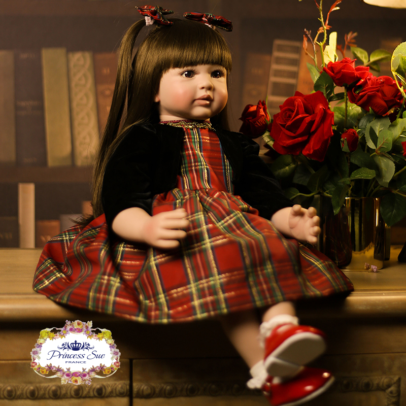 22 inch Adora Toys for Girls Princess Baby Reborn Doll Long Brwon Hair Bright Eyes High Quality Dress Girls' Xmas Gift Doll Toy new 22 adora reborn toddler doll with red layered dress high quality princess girl doll toy gifts fashion dolls toys for girls