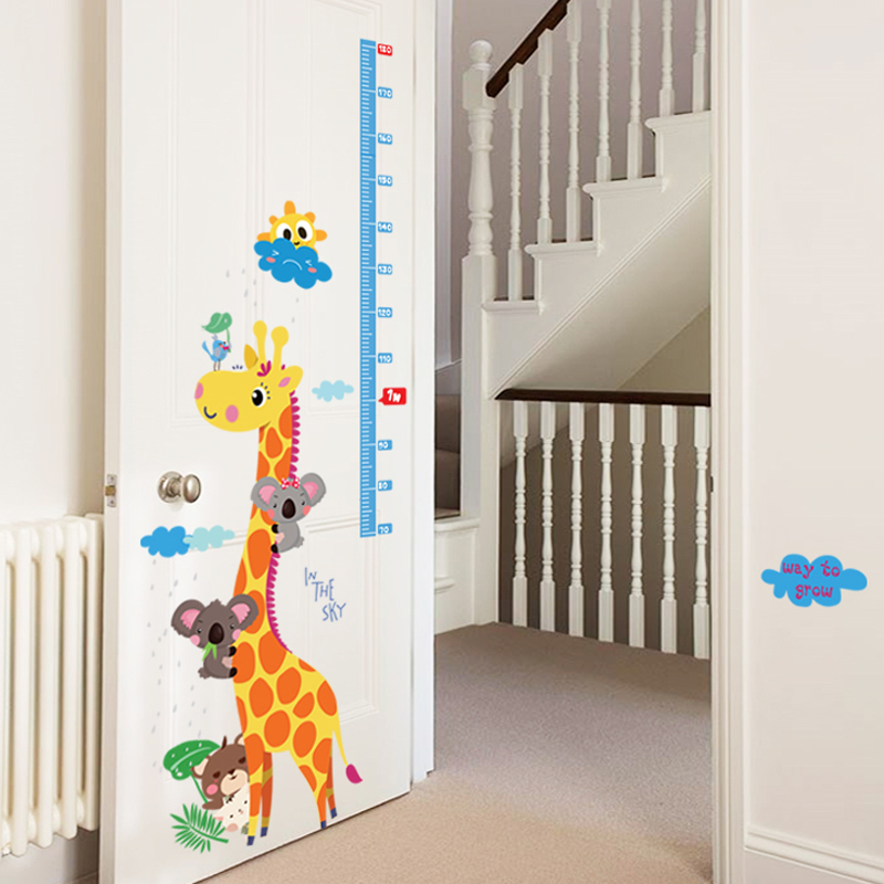 Cute Giraffe Wall Sticker Height Scale Measure Sticker For Baby Room/Kid Room/Nursery Cartoon Animal Wall Art