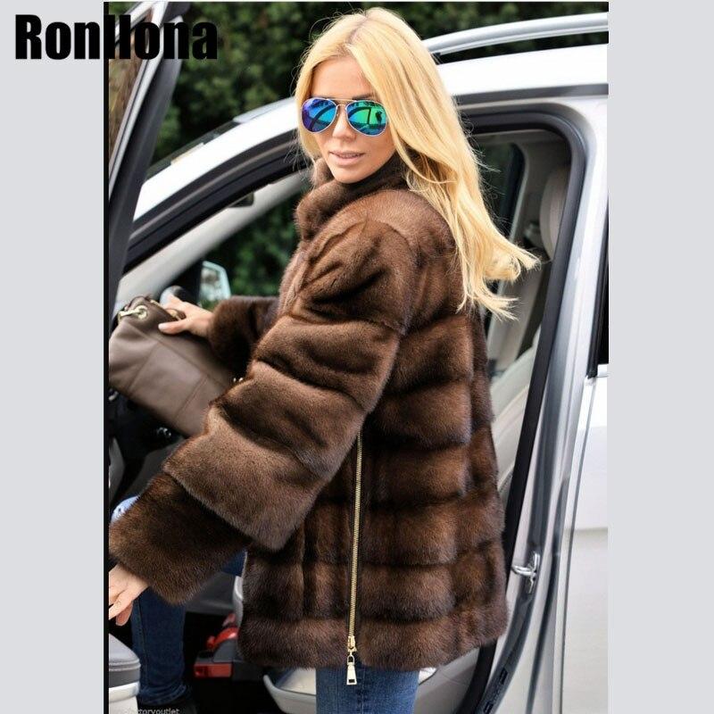 2018 Новый реального норки пальто воротник-стойка с боковой молнией съемный рукав куртки Для женщин мех Натуральная верхняя одежда зимнее па...