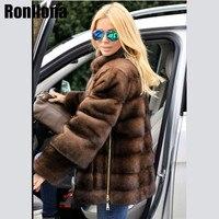 2018 New Real Mink Fur Coat Stand Collar With Side Zipper Detachable Sleeve Jacket Women Fur Genuine Outwear Winter Coat MKW 073