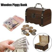 Caixa de moeda banco piggy mealheiro para dinheiro cofrinho seguro de madeira presentes de Natal Tanque de Poupança kumbara hucha cofre de moeda @ 30