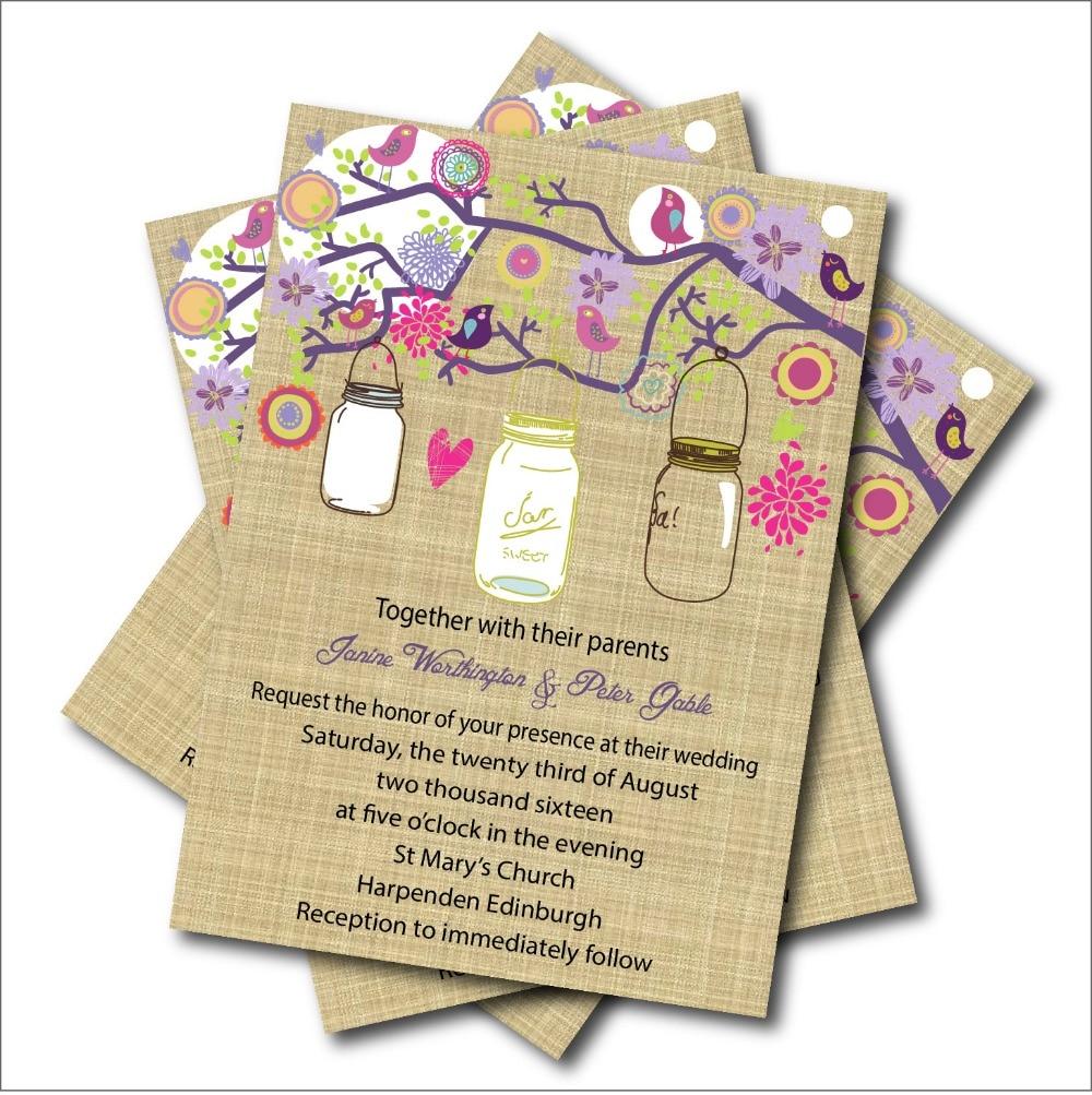 20 pcslot custom vintage mason jar wedding bridal shower invitation rustic lace wedding invites wedding decoration party supply