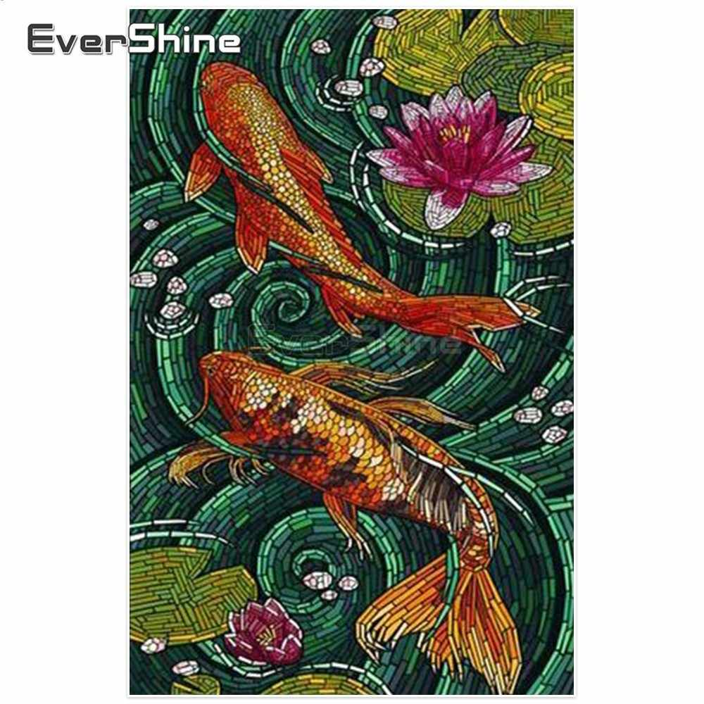 Evershine เพชรเย็บปักถักร้อยปลาภาพ Rhinestones เต็มรูปแบบเพชรจิตรกรรม CROSS Stitch สัตว์ Wall Decor ของขวัญ