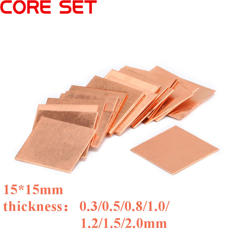 10pcs 15mm*15mm*0.8mm Copper Pad Shim Heatsink For Laptop GPU Chipset Cooling