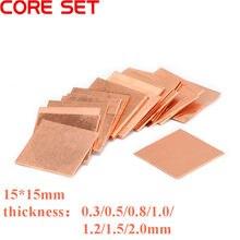10 pces 0.3mm/0.5mm/0.8mm/1.0mm portátil placa de folha de cobre tira shim almofada térmica do dissipador de calor folha para gpu cpu vga chip ram refrigerar