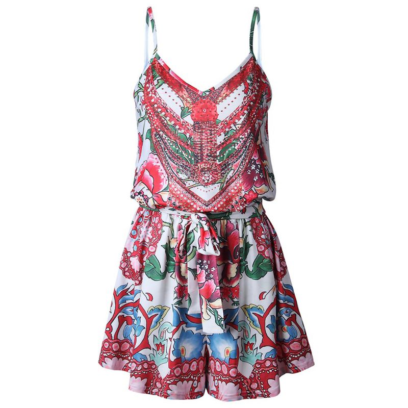 2018 Summer Floral Printed Women Short Jumpsuits Playsuits V-neck Sling Wide Legs Female Bodysuits Sexy Boho Beach Shorts