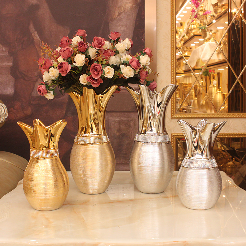 European Style Electroplated Gold Wire Drawing Ceramic Open Vase