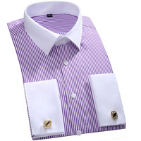 JeeToo Brand French Cuff Mens Dress Shirts Long Sleeve Men Shirt Slim Fit Mens Tuxedo Shirt