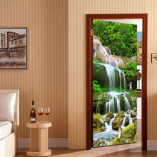 Mountain Water Waterfall Door Sticker