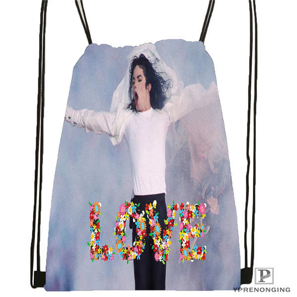 Custom Michael Jackson@01  Drawstring Backpack Bag Cute Daypack Kids Satchel (Black Back) 31x40cm#20180611-02-64