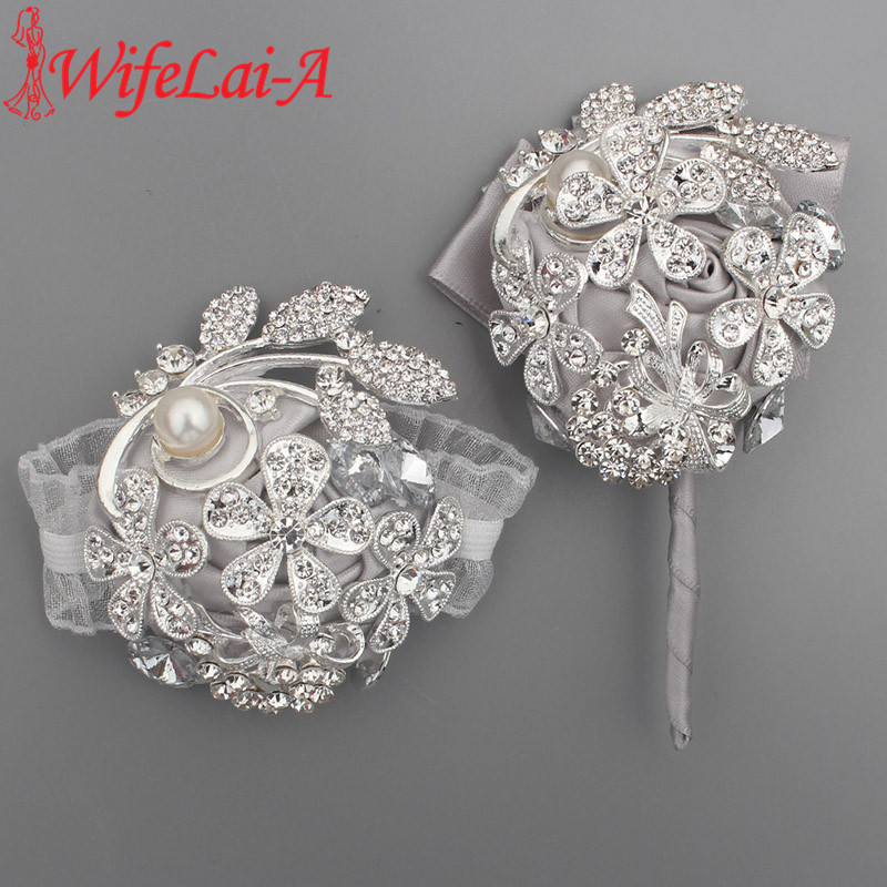 WifeLai-A Bling Boutoinnere Brooch Pin Creative Bride And Groom Corsage Wedding Rhinestone Fabric Rose Breast Flower Pin T0888