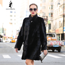 2016-2017 New style fashion fur coat natural mink stand  Collar good quality women black coats of