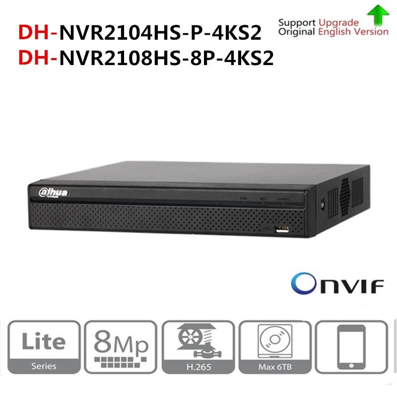 DH NVR2104HS P 4KS2 NVR2108HS 8P 4KS2 4CH 8CH POE NVR 4 К Регистраторы Поддержка HDD 4/8CH POE для видеонаблюдения Системы комплект безопасности