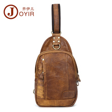 2016 New Arrival Genuine Leather cowhide chest pack Men's Crossbody chest bags casual small shoulder bag for male man bag 1308