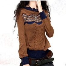 Hitz Female Cashmere Sweaters With Paragraph Bottoming Shirt Round Neck Hit color Sweater Pullover Short