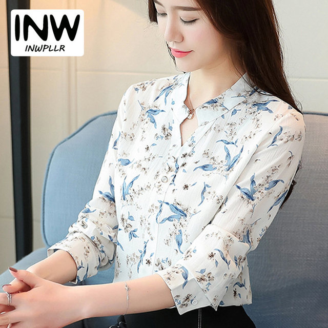 99a08eb54835aa 2019 New Autumn Chiffon Blouse Women Ladies Shirts Floral Print Blusas  Mujer V-neck Long