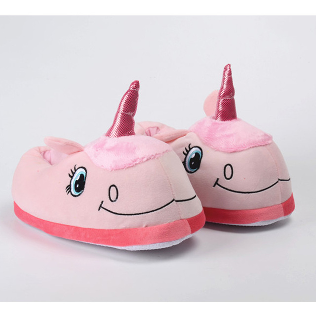 Happy Easter Couple Gifts Winter Indoor Slippers Plush Stuffed Home Unicorn Shoes for Grown Ups Unisex Warm Home Slippers Shoes