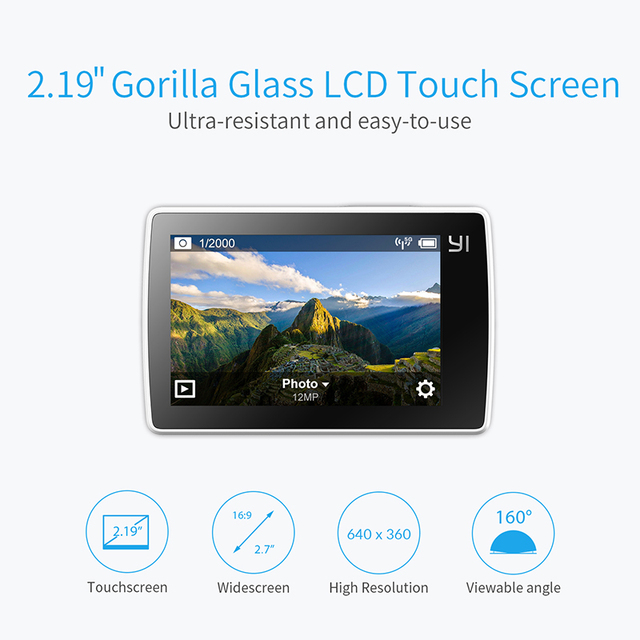 【Ship in Dec】YI 4K Action Sports Camera 4K/30fps Video 12MP Raw Image EIS Voice Control Ambarella A9SE Chip 2.19''  Touch Screen 2
