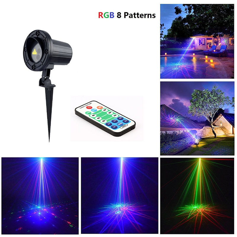 waterproof ip44 red green and blue laser led light with rf remote control for outdoor indoor garden decoration Laser Christmas Projector Outdoor RGB Light 8 Big Patterns Waterproof IP 65 With RF Remote Control For Xmas Garden Decoration