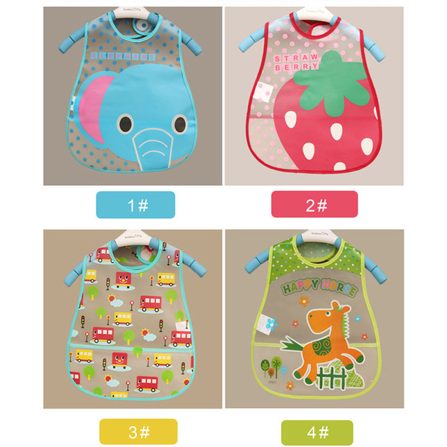 2018 Baby Bibs Cartoon EVA Waterproof Lunch Bibs Infant Cartoon Burp Cloths For Children Feeding Care 1Pcs Adjustable W0075