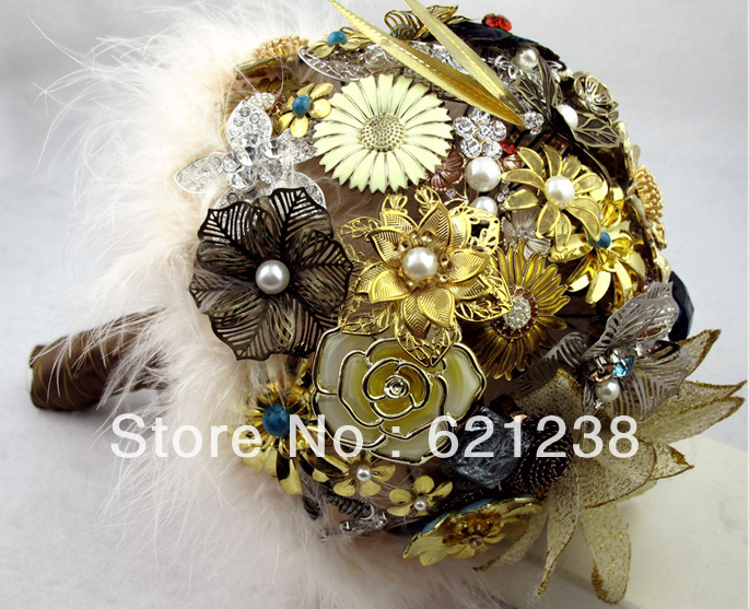 8 Inch Brown Vintage Brooch Bouquet / Mysterious Ancient Flower Care Of Your Love /jewelry, Wedding Bridal Bouquets Brown