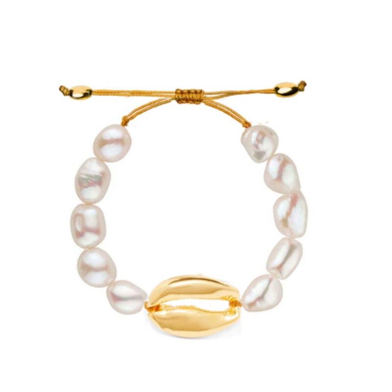454b03c0af97 Cheap Clásico barroco perla pulsera de la amistad de oro conchas pulseras  para mujeres oro Cowrie