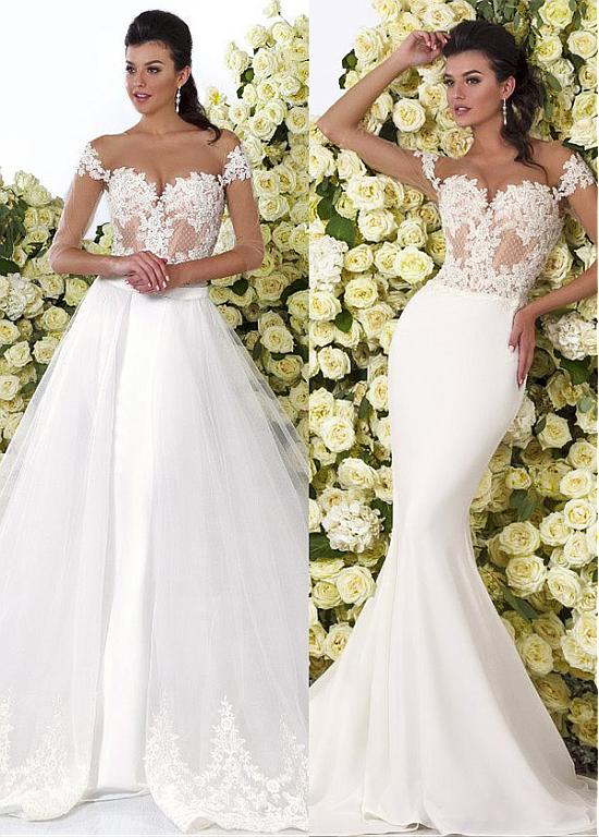 Mermaid Wedding Dresses Wedding Gowns Charming Tulle See through 2 ...