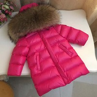 Children's Clothing Down jacket Boys and girls fur collar with long thick coat 2 12 years old