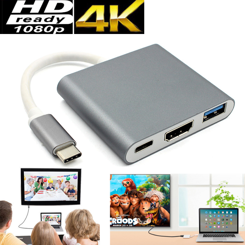 3in1 Video Adapter For Thunderbolt 3 Type C USB 3.1 to HDMI Converter Adapter Cable for Apple macbook pro 2016 2015 Screen to TV usb 3 1 type c to 4k hdmi hub type c adapter thunderbolt 3 convertor usb c dock dongle combo with sd tf charging for macbook pro