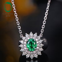 Caimao Natural Emerald Pendant Chain 14K White Gold with 0.33ct H SI Diamonds Necklace