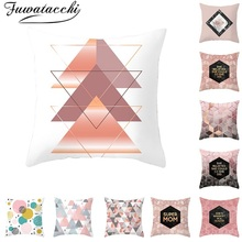Fuwatacchi Pink Geometric Cushion Cover Nordic Diamond Wave Throw Pillow for Sofa Home Chair Decorative Pillows 45*45cm