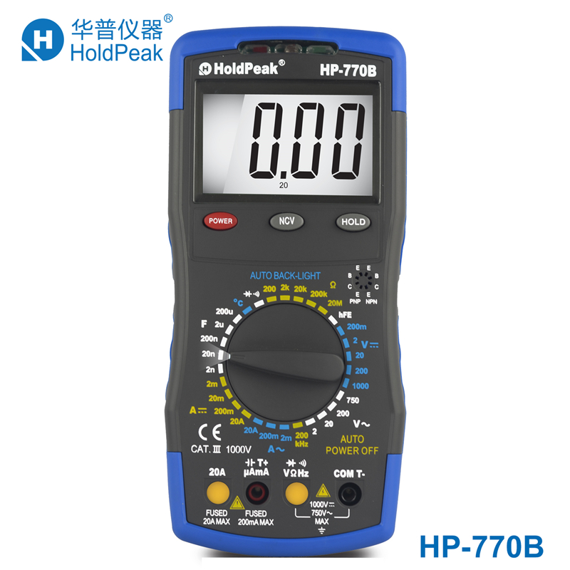 Multimetr  HoldPeak HP-770B Digital Multimeter Meter with NCV Feature and Frequency/Dide/hFE Test mini multimeter holdpeak hp 36c ad dc manual range digital multimeter meter portable digital multimeter