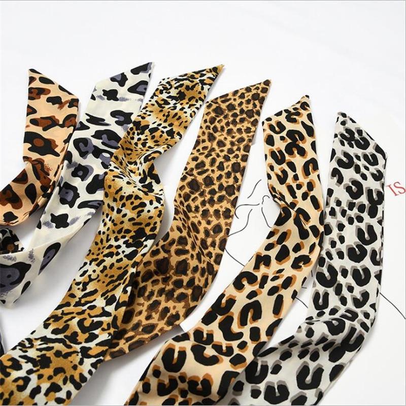 2019 New Women Skinny   Scarf   Faux Silk   Wrap   Animal Sex Leopard Print Bag Handle Ribbons Head Tie Band Neckerchief   Scarves   Shawl