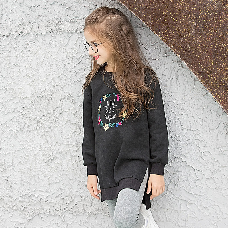 Tanggetui 2018 Child Louis Dog Kids Girls Long Paragraph Sweater Embroidered Fleece Set Loose in the Thick Head and Long Sleeves цена