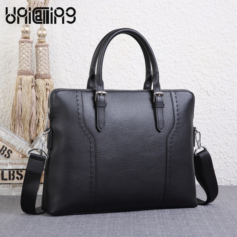 UNICALLING men's briefcase top grade cow leather men business briefcase new style leather male bag handbag unicalling denim