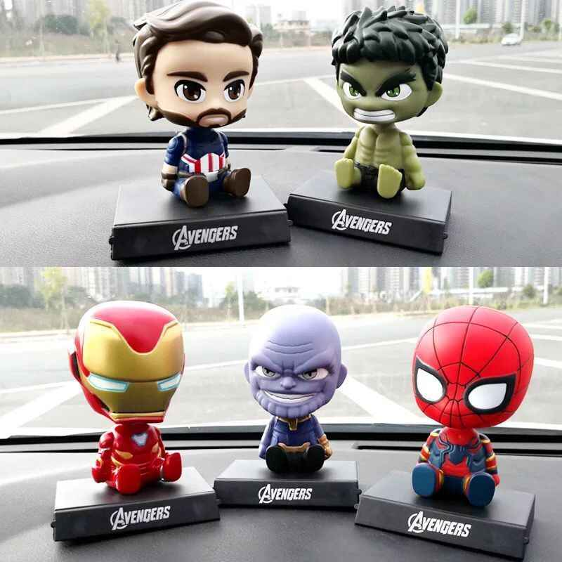 Avengers Figurine Iron man Spiderman Green Giant Shaking Head Car Ornaments Automobiles Interior Dashboard Car Accessories
