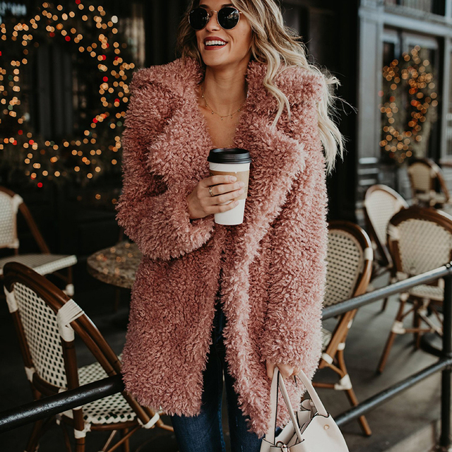 1acf0184a31 UPPIN New Fluffy Long Faux Fur Coat Women Thicken Winter Fake Fur  Streetwear Pink Black Coat Female Fashion Fur Jacket Cardigan