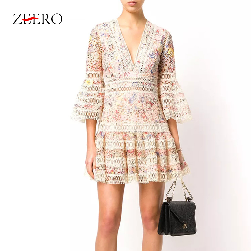 ZEERO High End Self Portrait Boho Women Dress Autumn 2018 Bodycon Sexy Flare Sleeve Mini Dress